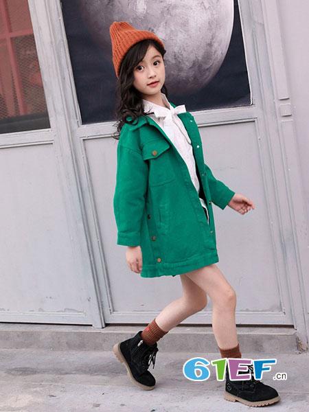 dishion的纯童装品牌2018秋冬棉布开衫韩版时尚中长款外套