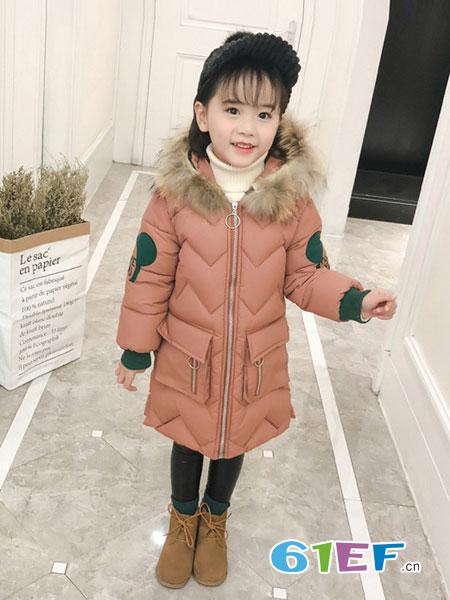 dishion的纯童装品牌2018秋冬韩版中大童纯色冬季收腰羽绒棉袄外套
