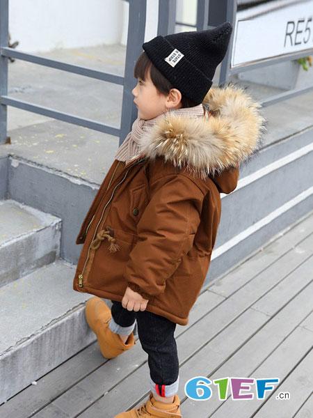 dishion的纯童装品牌2018秋冬加厚棉服6宝宝冬装7洋气外