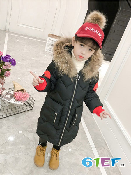 dishion的纯童装品牌2018秋冬中长款加厚羽绒棉服儿童冬季棉袄外套潮