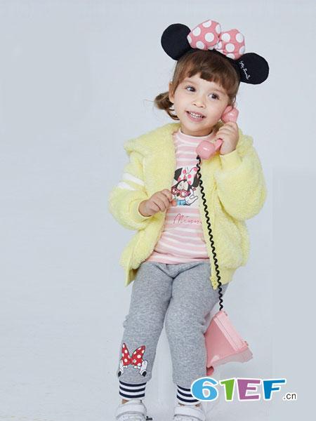 dishion的纯童装品牌2018秋冬针织连帽外套迪斯尼长袖上衣外套