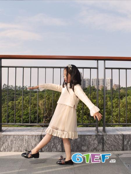 可米芽童装品牌2018秋冬半身裙两件套仙女蓬蓬裙