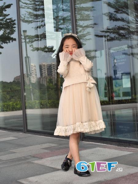 可米芽童装品牌2018秋冬新款蕾丝蛋糕裙公主裙中长款