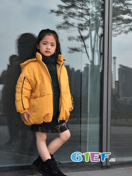 可米芽童装品牌2018秋冬时尚宽松直筒翻领时尚宽松长袖百搭