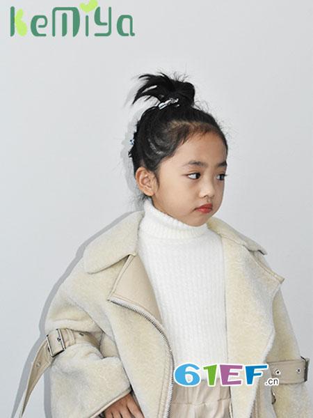 可米芽童装品牌2018秋冬韩版皮毛一体羊羔绒机车棉服