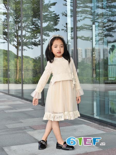 可米芽童装品牌2018秋冬两件套装长款蕾丝鱼尾裙网纱套装裙