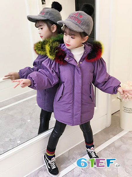 欧嘉尼童装品牌2018秋冬中长款棉服小女孩韩版时髦大毛领棉衣