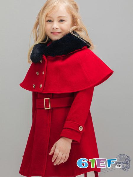 常春藤童装品牌2018秋冬时尚苏格兰纹斗篷式外套