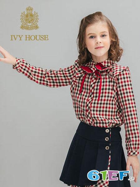 常春藤童装品牌2018秋冬格子长袖衬衫
