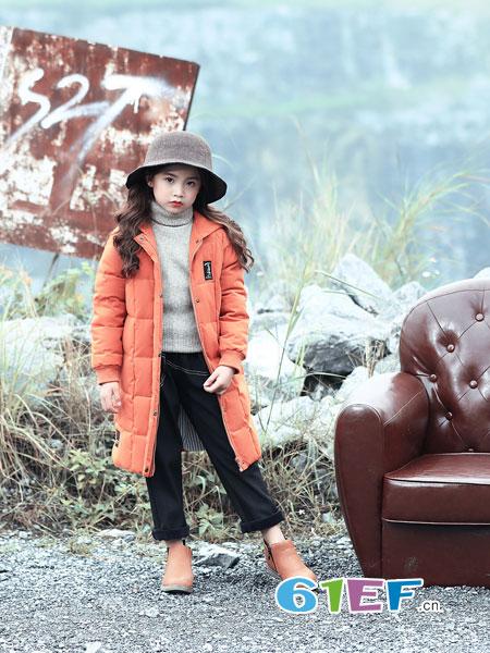 叮当猫童装品牌2018秋冬印花中长款宽松加厚棉袄外套