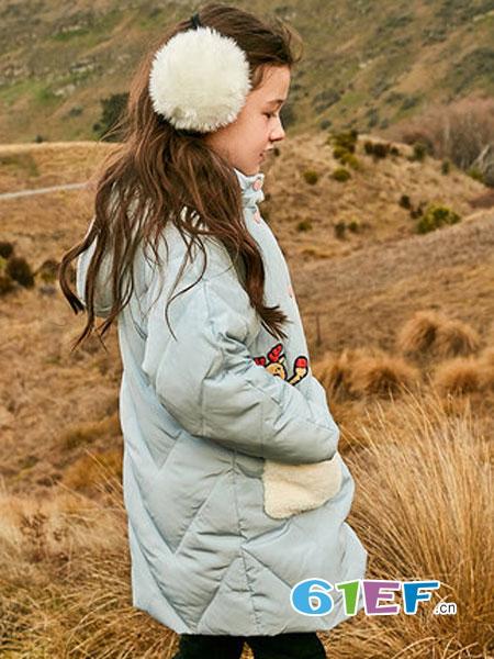 米妮哈鲁童装品牌2018秋冬中长款连帽中大童羽绒服