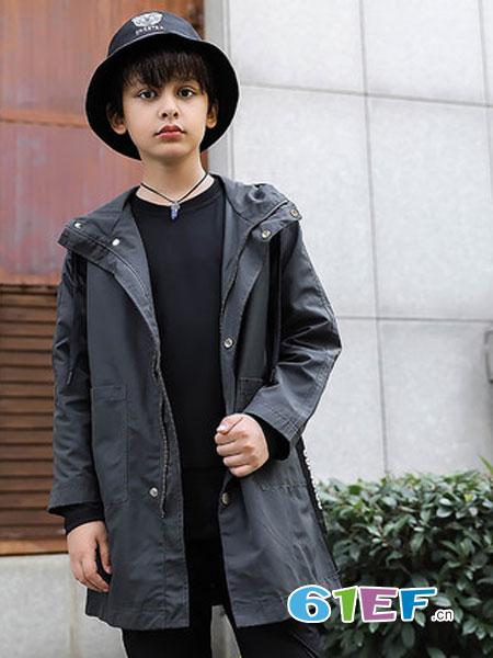 丰龙宝宝童装品牌2018秋冬韩版连帽风衣洋气潮