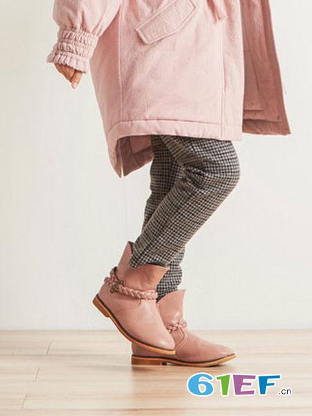 布景童装品牌2018秋冬宽松中腰休闲保暖格纹裤