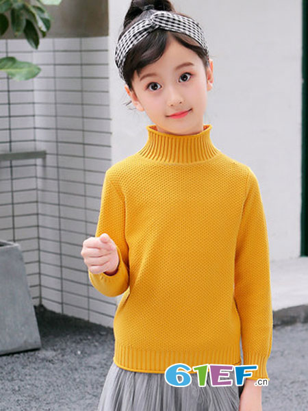 圣逸亲童装品牌2018秋冬纯色高领针织衫