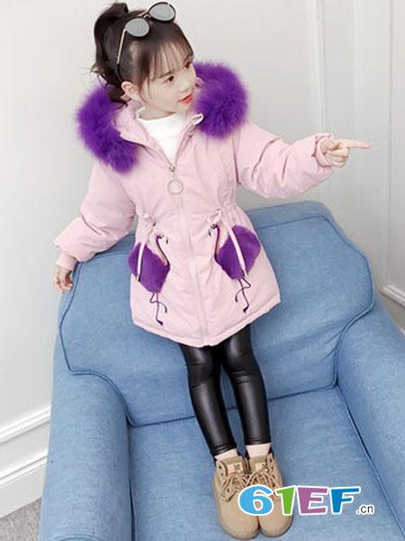 圣逸亲童装品牌2018秋冬洋气韩版公主中长款保暖棉衣