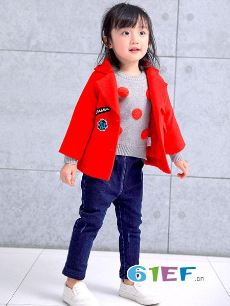 巴迪小虎BaDi Tiger童装品牌2018秋冬红色米奇款羊毛呢大衣