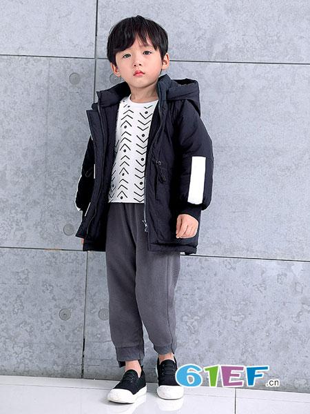 巴迪小虎BaDi Tiger童装品牌2018秋冬撞色纯棉加绒休闲运动裤