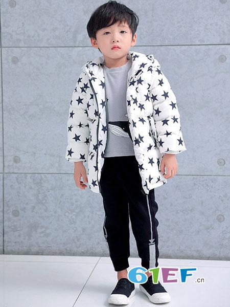 巴迪小虎BaDi Tiger童装品牌2018秋冬印花可爱加绒毛毛外套