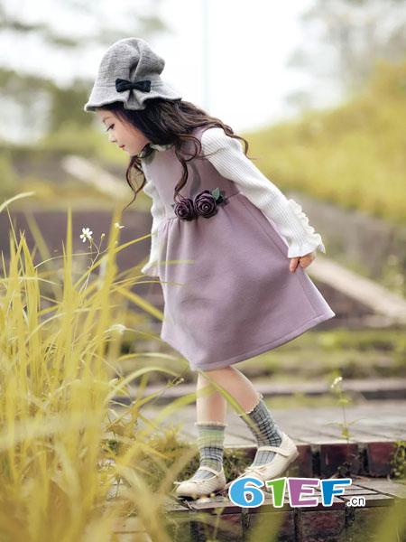 WISEMI威斯米童装品牌2018秋冬新款儿童淑女毛呢马甲裙童装背心