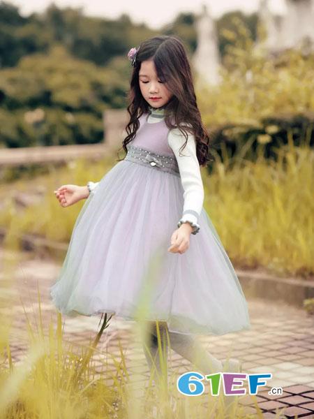 WISEMI威斯米童装品牌2018秋冬粉色灰色一字肩V领小礼服裙