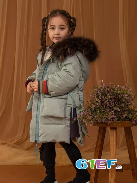 WISEMI威斯米童装品牌2018秋冬大童洋气中长款女孩棉服外套