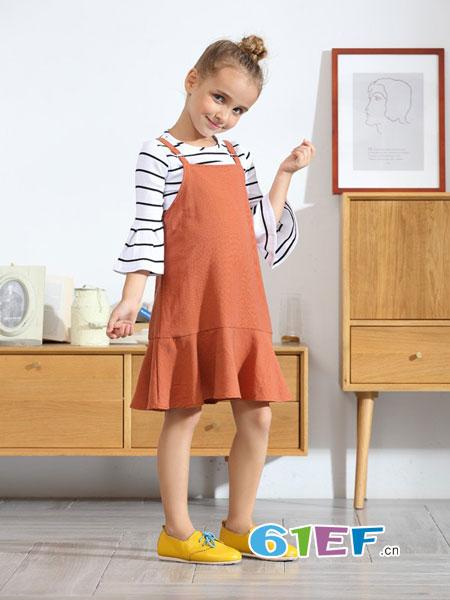 芭乐兔童装品牌2018秋冬款童装套装中大童韩版背带裙两件套
