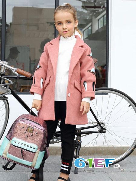 芭乐兔童装品牌2018秋冬中长款洋气毛呢外套时尚潮