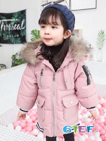 可娃衣童装品牌2018秋冬大毛领加绒棉服