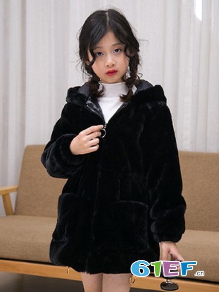 可娃衣童装品牌2018秋冬韩版仿皮草加厚外套