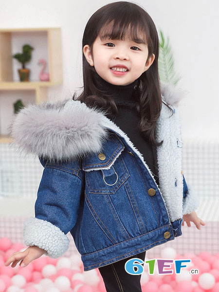 可娃衣童装品牌2018秋冬洋气时髦牛仔加绒外套