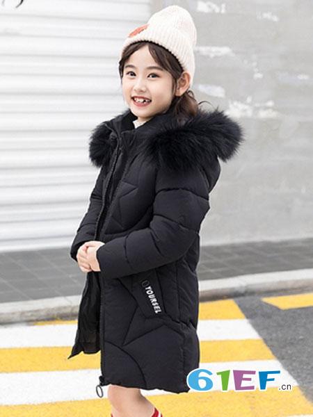 可娃衣童装品牌2018秋冬韩版女孩公主中大童毛领棉服