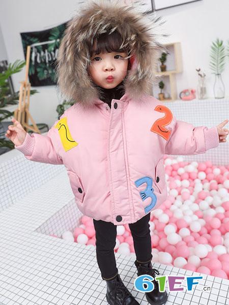 可娃衣童装品牌2018秋冬大毛领贴图棉服潮