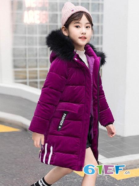 可娃衣童装品牌2018秋冬金丝绒儿童棉服女大童棉袄中长洋气外套