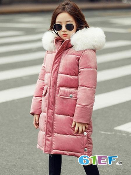 可娃衣童装品牌2018秋冬加厚儿童韩版金丝绒羽绒服