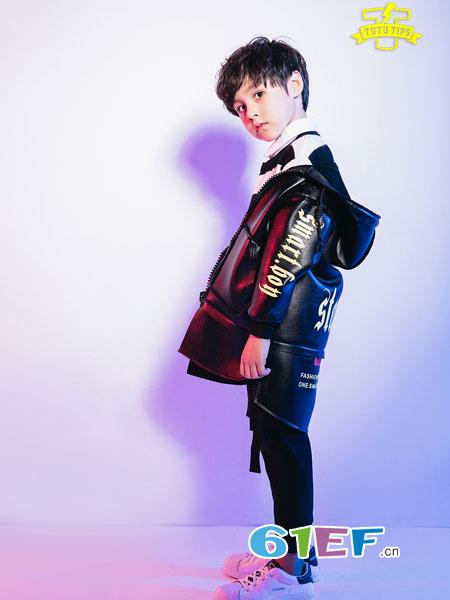 图零钱 TUTU Tips童装品牌2018秋冬洋气连帽纯色大衣加绒加厚