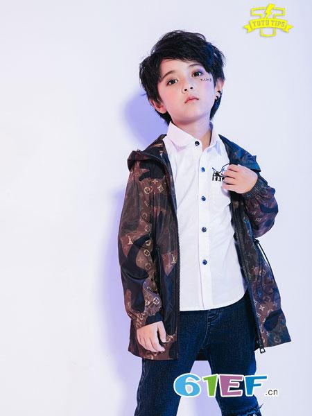图零钱 TUTU Tips童装品牌2018秋冬新款男孩上衣连帽风衣夹克潮