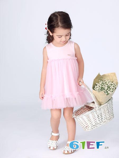 波波龙童装品牌2019春夏新款韩版裙花边女童连衣裙