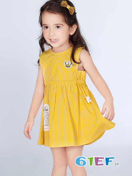 波波龙童装品牌2019春夏女童装洋气公主连衣裙儿童背心裙