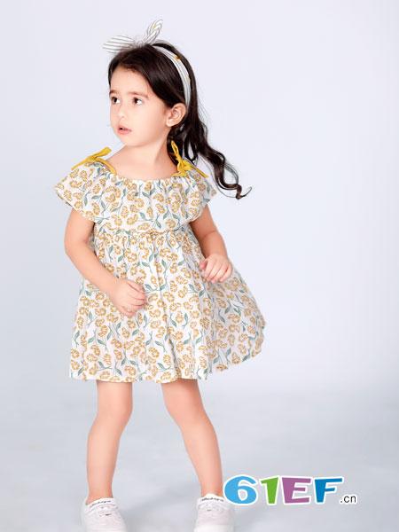波波龙童装品牌2019春夏新款气质收腰显瘦公主裙