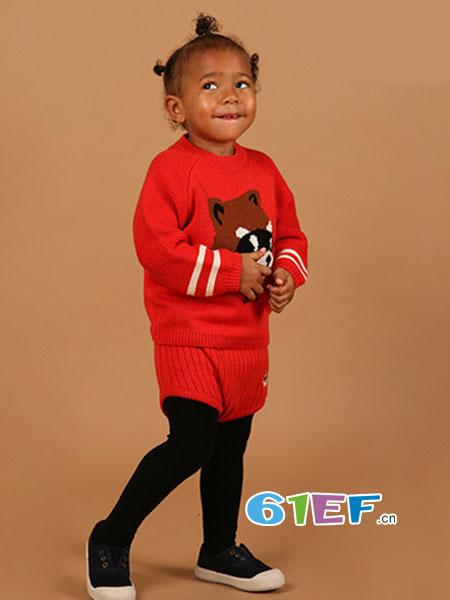 BEBE DE PINO(贝贝品诺)童装品牌2018秋冬翻领图案针织马甲