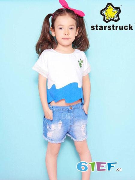 天马流星龙8国际娱乐官网品牌2018春夏海浪形蓝色下摆装饰仙人掌印花短袖T恤