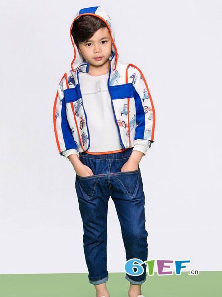 天马流星龙8国际娱乐官网品牌2018春夏汽车印花拼接蓝色外套