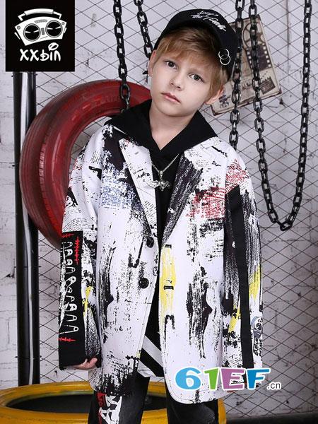 XXbin童装品牌2018秋冬撞色涂鸦喷绘印花平驳领西装 潮童