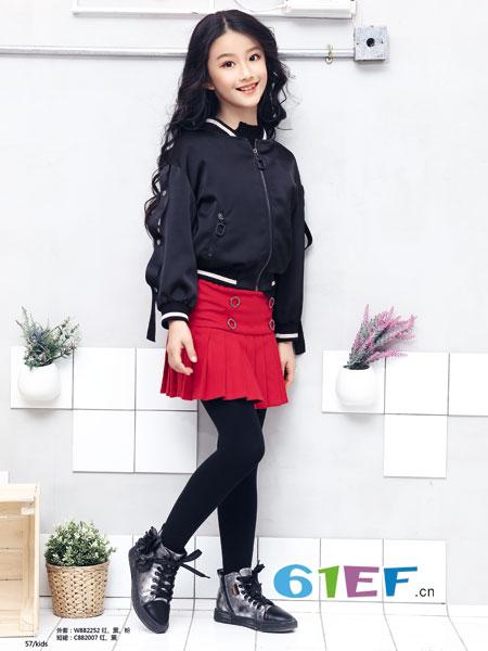 米咪咔童装品牌2018秋冬黑色短款时尚棉衣棒球服外套