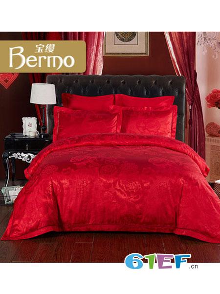 宝缦家纺用品大红色婚庆简约提花四件套床单被套床上用品