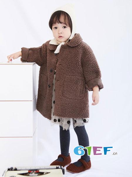糖卡布衣童装品牌2018秋冬绒面棕色韩版羔羊外套