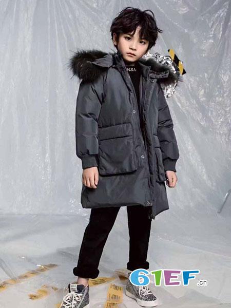 迪尼天地童装品牌2018秋冬中长款加厚宽松毛领连帽