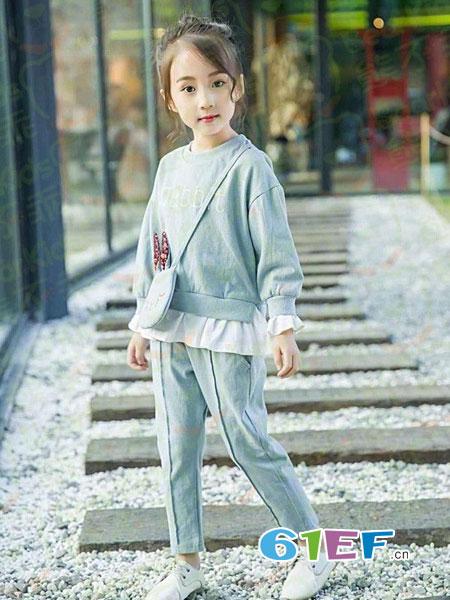 熊不乖龙8品牌2018秋冬两件套小童洋气公主潮