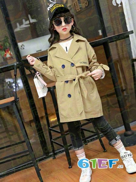 熊不乖童装品牌2018秋冬新款韩版儿童双排扣风衣外套潮