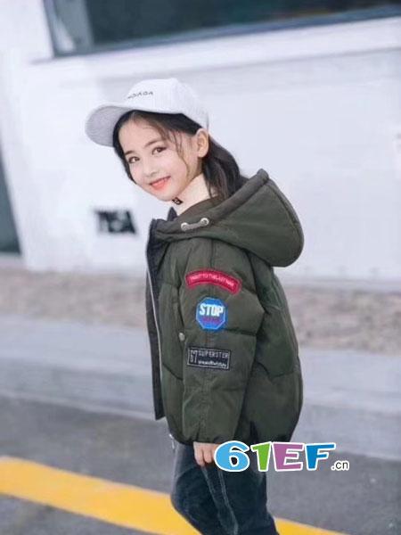 欧米源童装品牌短款连帽棉服